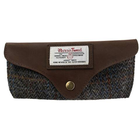 The British Bag Company Carloway Swoop Harris Tweed and Leather Glasses Case - one size