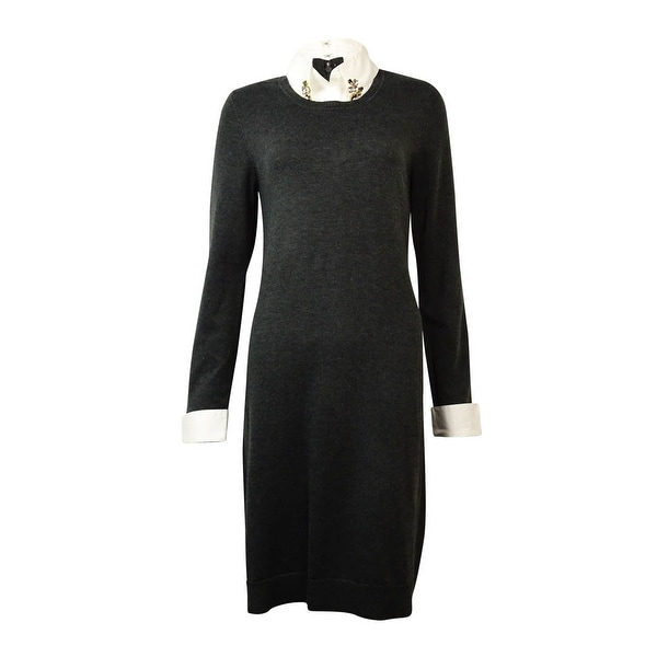 INC International Concepts Women's Embellished Collared Sweater Dress - Grey