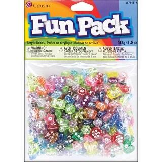 Fun Pack Acrylic Shaped Beads 1.8oz-Assorted W/Rhinestones