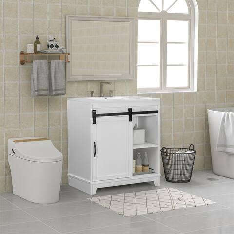 Merax Free-Standing Bathroom Vanity with Sliding Bars Door