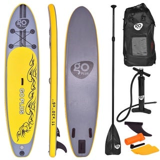 Costway 11' Inflatable Stand Up Paddle Board SUP w/ 3 Fins Adjustable Paddle Backpack - Yellow