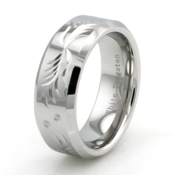 Hand Carved Polished White Tungsten Ring w/ Floral Design