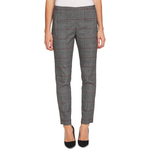 CeCe Black Red Womens Size 14 Stretch Ankle Plaid Dress Pants