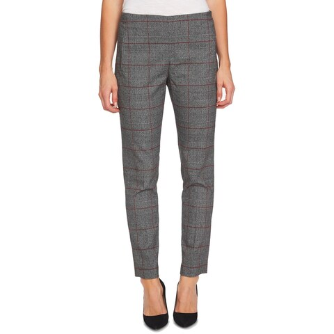 CeCe Gray Red Womens Size 10 Plaid Ankle Pull On Dress Pants