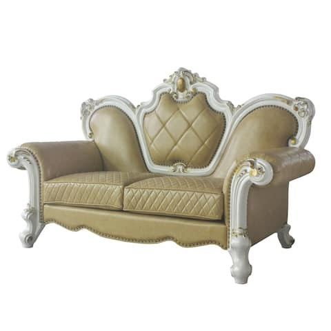 Leatherette Loveseat with Diamond Stitching and Carvings, White and Beige