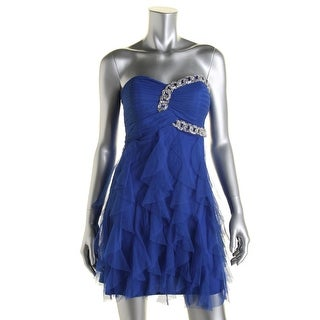 Blondie Nites Womens Juniors Semi-Formal Dress Ruffled Embellished