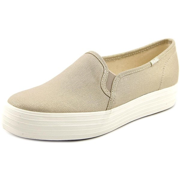 Keds Triple Deck CR Hatch Women Round Toe Canvas Gold Sneakers
