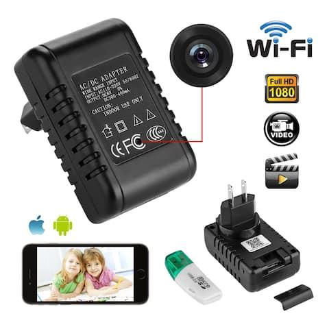 AGPtek HD 1080P WIFI Mini SPY Motion Hidden Wall Charger IP Camera US Adapter Plug Cam - Black - S
