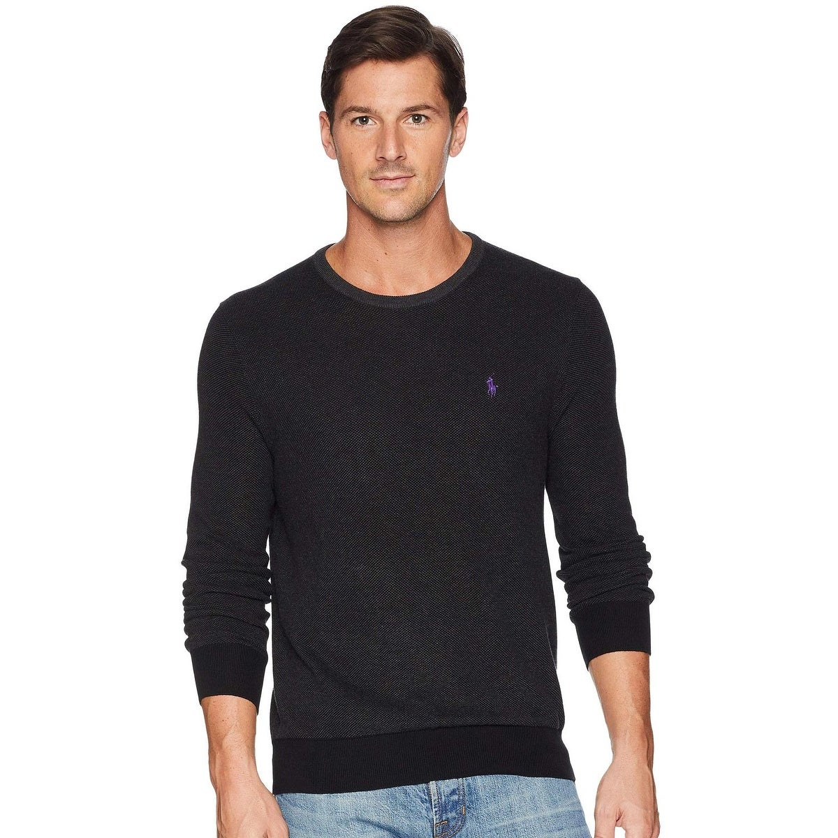 super specials various colors to buy Polo Ralph Lauren Mens Textured Pima Cotton Crewneck Sweater Large Charcoal  Grey