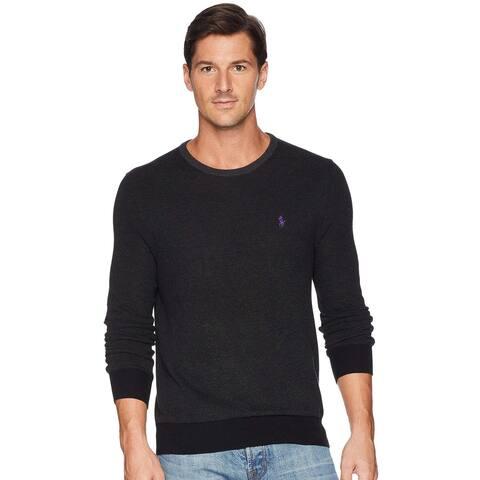 Polo Ralph Lauren Mens Textured Pima Cotton Crewneck Sweater Large Charcoal Grey