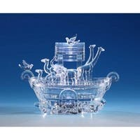 "Pack of 2 Icy Crystal Illuminated Religious Noah's Ark Candy Jar 7"" - Clear"