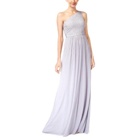 Adrianna Papell Women's Embellished One Shoulder Lace Block Gown