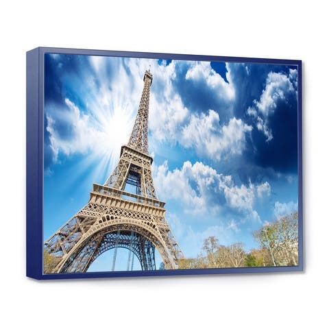 Designart 'Eiffel Under Blue Sky' Skyline Photography Framed Canvas Art