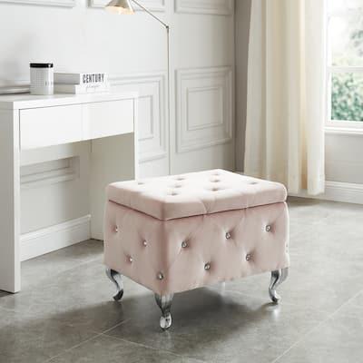 Monique-Velvet Storage Bench with Crystals