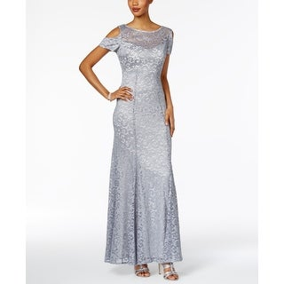 R&M Richards Steel Womens Lace Cold-Shoulder Gown Dress