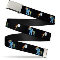 Blank Chrome Buckle Rainbow Dash Lightning Bolt Black Webbing Web Belt