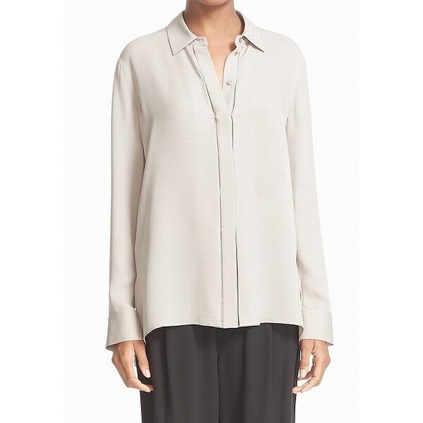 fc4b82f1feec95 Shop Vince. Beige Womens Size 10 Silk Long Sleeve Button Down Blouse ...