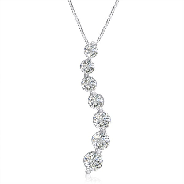 AGS Certified 1ct TW Journey Diamond Pendant in 14K White Gold
