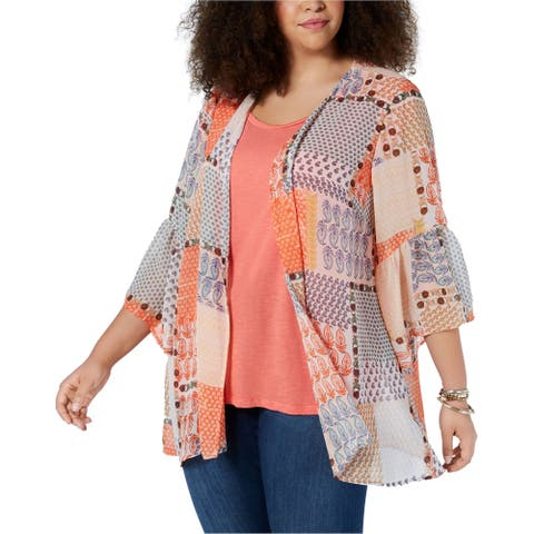 Style & Co. Womens Open-Front Kimono Sweater, orange, 2X