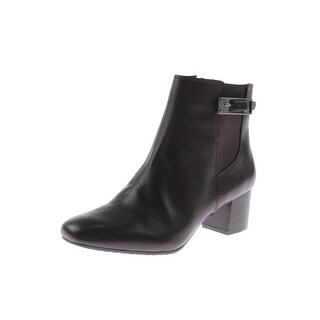 Bandolino Womens Lethia Ankle Boots Leather Stacked Heel
