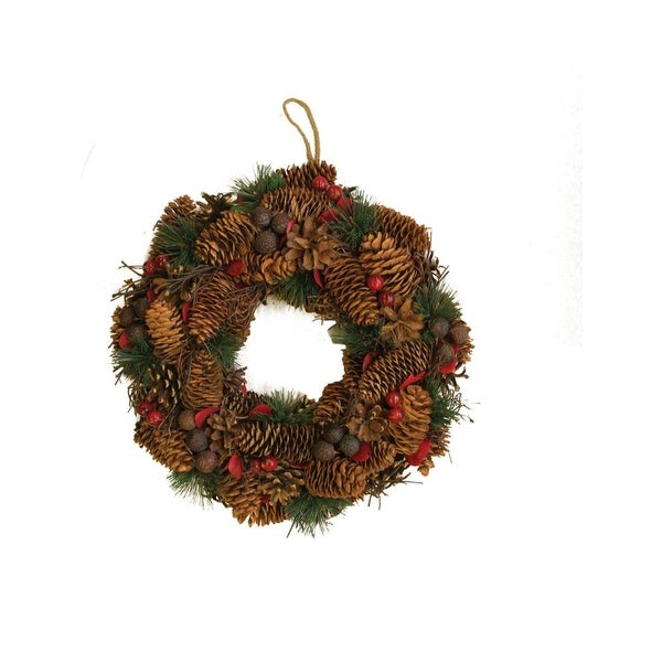 """13"""" Berries, Twigs, Nuts, and Pine Cones Christmas Wreath - Unlit - green"""