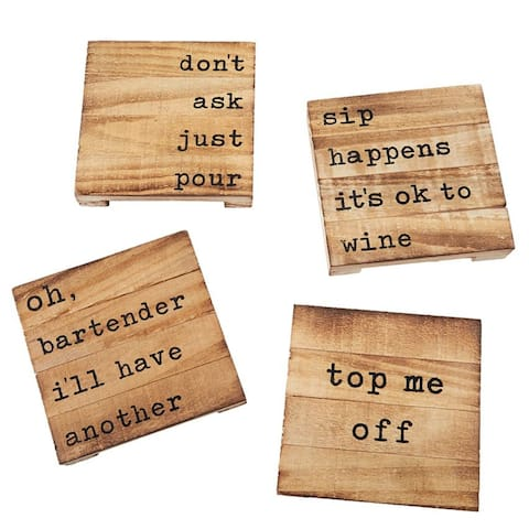 Planked Pallet Coasters Just Pour Oh Bartender Sip Happens Top Me Off Set of 4
