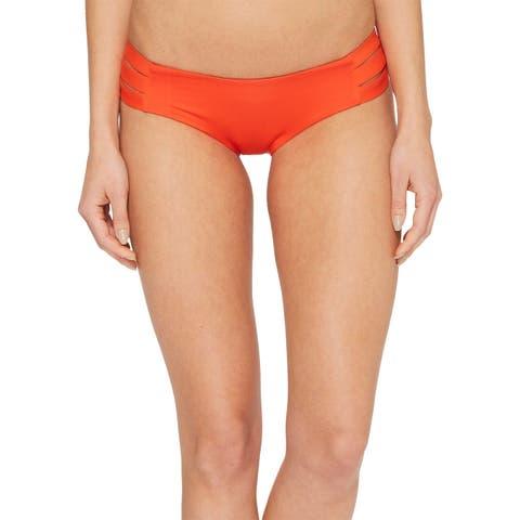 Vitamin A Red Womens Size Medium M Hipster Bikini Bottom Swimwear