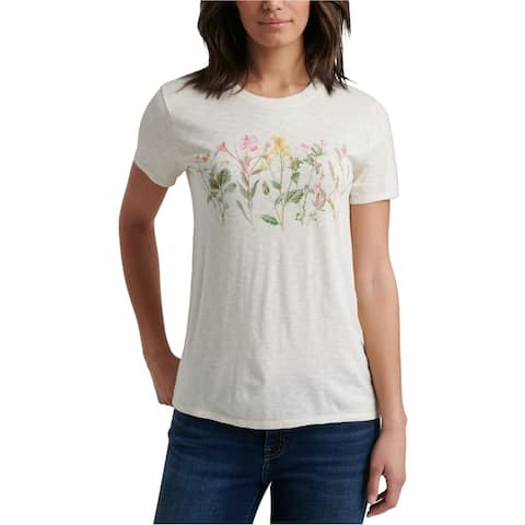 Lucky Brand Womens Floral Graphic T-Shirt, White, Medium