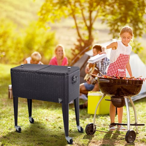 Costway Outdoor Rattan 80QT Party Portable Rolling Cooler Cart Ice Beer Beverage Chest - as pic