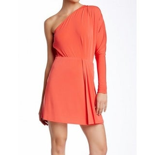 Rachel Zoe NEW Orange Womens Size Medium M Ruched One Shoulder Dress