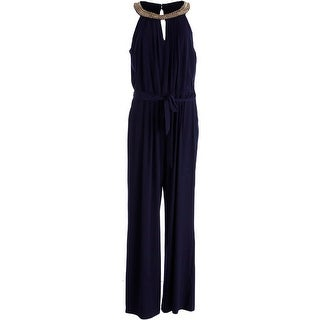 Vince Camuto Womens Matte Jersey Pleated Jumpsuit