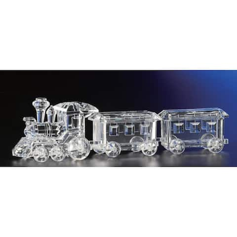 """Pack of 2 Icy Crystal Decorative Christmas Candy Jar Trains 3.5"""""""