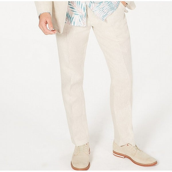 2abbe4c69 Shop Tasso Elba Mens 30X30 Flat Front 4-Pocket Linen Pants - Free Shipping  On Orders Over $45 - Overstock - 28378552