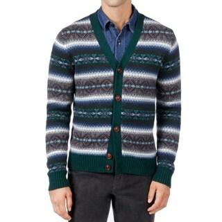 Tommy Hilfiger NEW Green Mens Size Medium M Fair Isle Cardigan Sweater