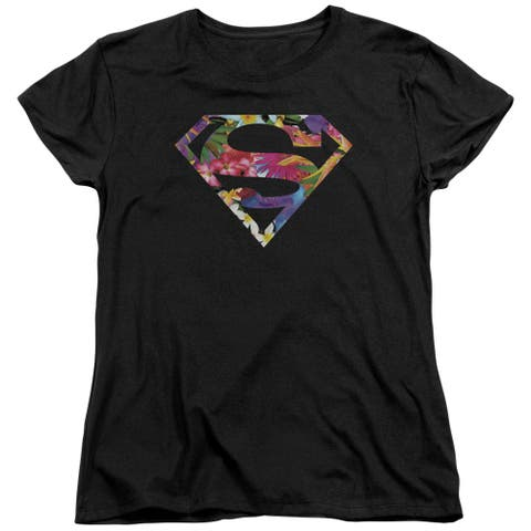 Superman HawaIIan Shield Womens Short Sleeve Shirt