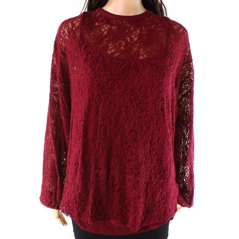 Democracy Womens Blouse Red Size 3X Plus Lace Long Sleeve Crewneck