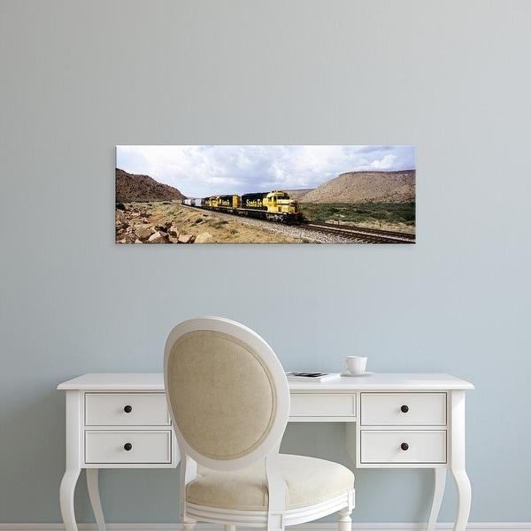 Easy Art Prints Panoramic Image 'Train on a railroad track, Santa Fe Railroad, Route 66, Valentine, Arizona' Canvas Art