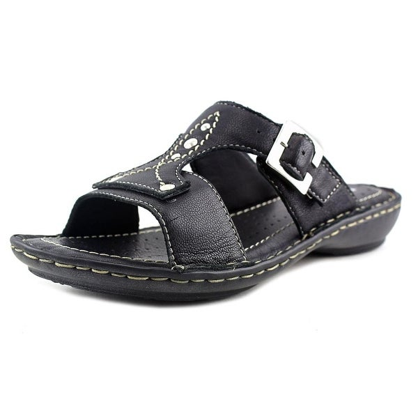Relaxshoe Rapalo Women Open Toe Leather Black Slides Sandal