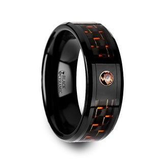 THORSTEN - HELSING Black Ceramic Ring with Black and Orange Carbon Fiber and Orange Padparadscha Setting
