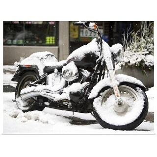 """""""USA, New York City, motorbike covered with snow"""" Poster Print"""