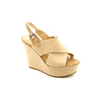 Marc Fisher Holiday Open Toe Canvas Wedge Sandal