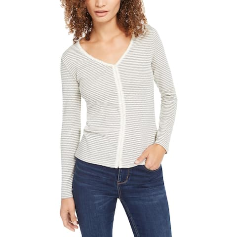 Lucky Brand Womens Petites Thermal Top Striped V-Neck - Gray - S