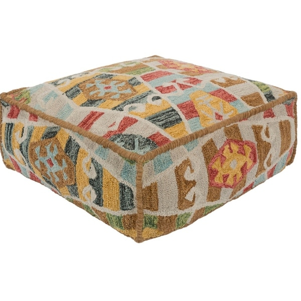 "24"" Ivory and Brown Geometric Pattern Hand Hooked Cotton Square Pouf Ottoman - N/A"