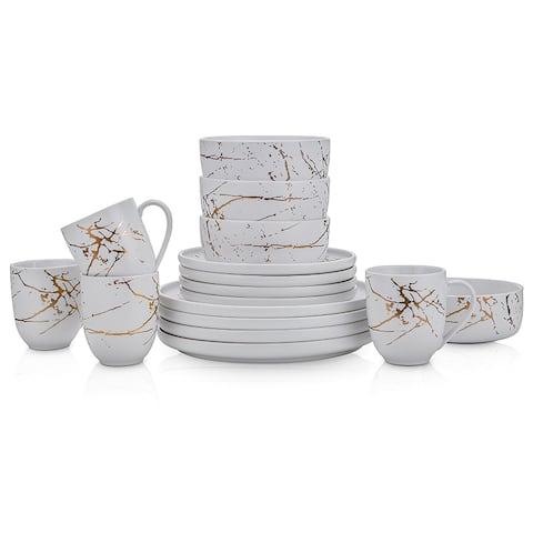 Stone Lain Zora Fine China Golden Splash Modern Coupe Dinnerware set