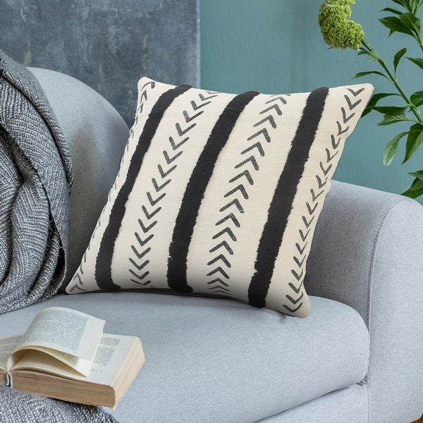 Black and Cream Tufted Striped Throw Pillow. Opens flyout.