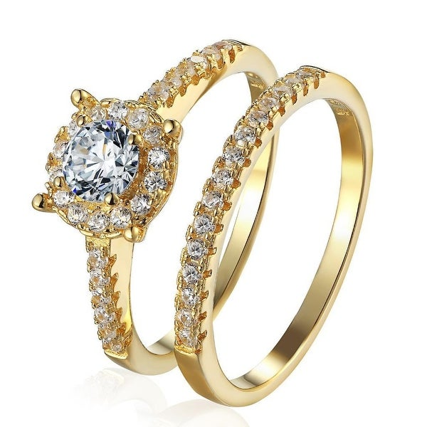 Solitaire Womens Bridal Ring Set Engagement Band Sterling Silver 14k Gold Finish - Yellow