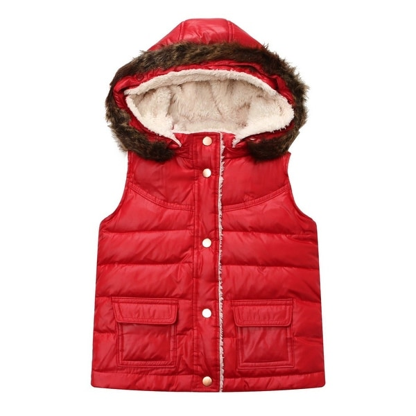 Richie House Baby Girls Red Detachable Hood Padding Vest 18M-24M