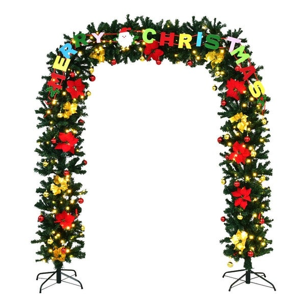 Costway 7.5' x 5'Pre-Lit Artificial Arched Christmas Tree Archway Decoration w/LED Lights - Green