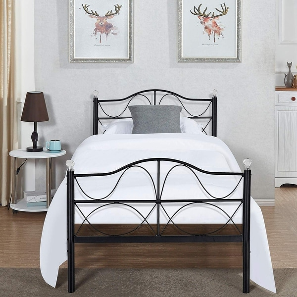 shop vecelo kids beds twin full queen size metal bed frames free shipping today overstock. Black Bedroom Furniture Sets. Home Design Ideas