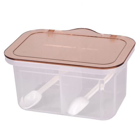 Kitchen 2 Compartment Spices Condiment Container Storage Box Holder Light Brown